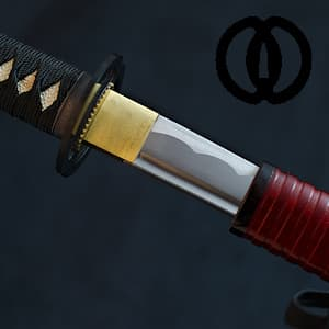 Senshi, katana aiguisé, saya rouge sombre à gorges (戦士 soldat, guerrier)